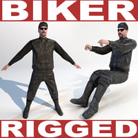 maya biker rigged biped