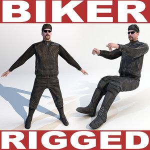 maya biker rigged biped