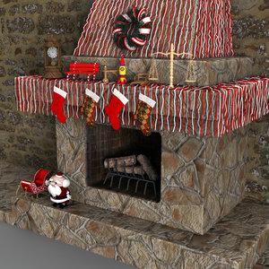 3d christmas fireplace