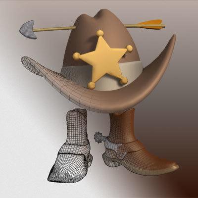 cowboy boots hat 3ds