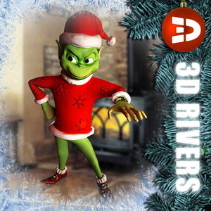 3d grinch christmas illustrations