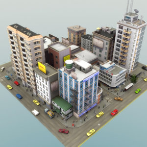 obj city scene population buildings