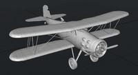 3d curtis f8c-4 biplane model