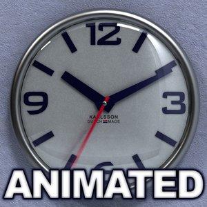3d wall clock karlsson realistically model