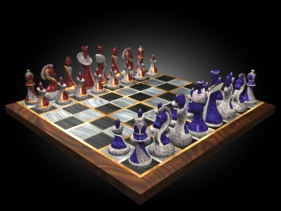 art deco chess set 3d 3ds