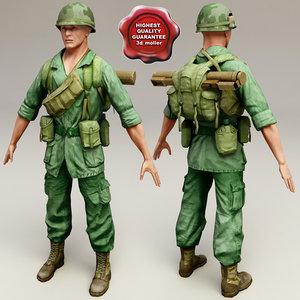 vietnam war soldier 3d model