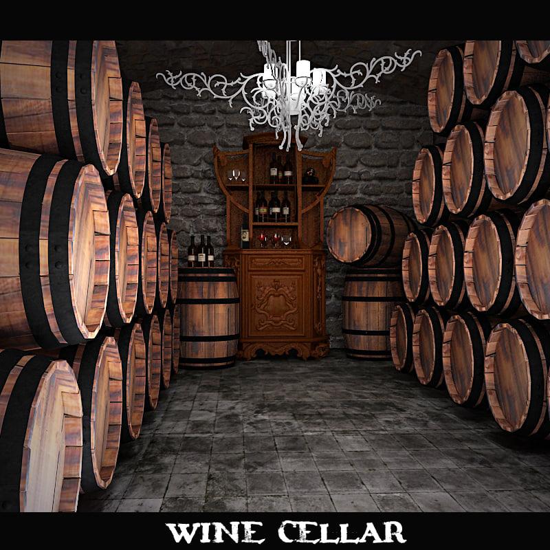 3d wine cellar model