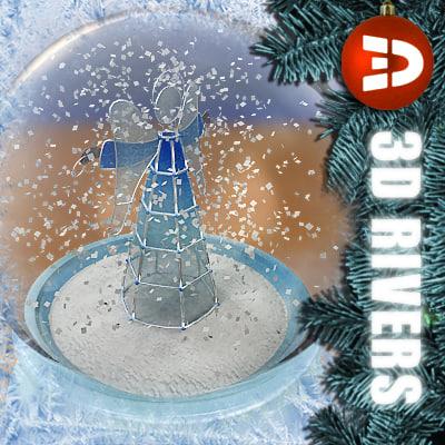 snow globe angel star 3d model