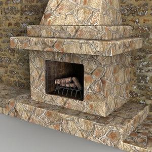 3d fireplace woods christmas model