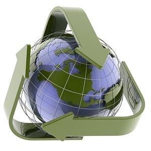 3d model globe recycle