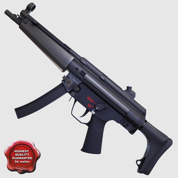3d realistic submachine gun n