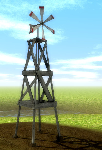 old windmill scenes 3d model