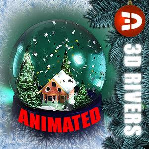 snow globe house 3d model