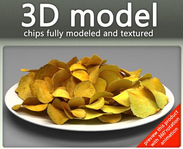 potato chips plate 3d 3ds