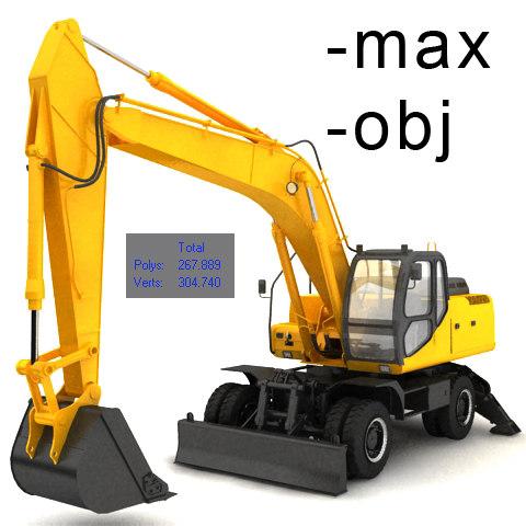 3d excavator industrial model