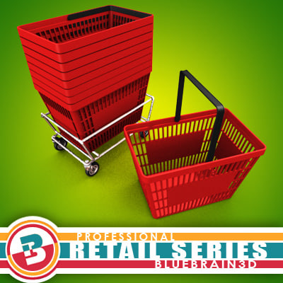 3d grocery store basket -