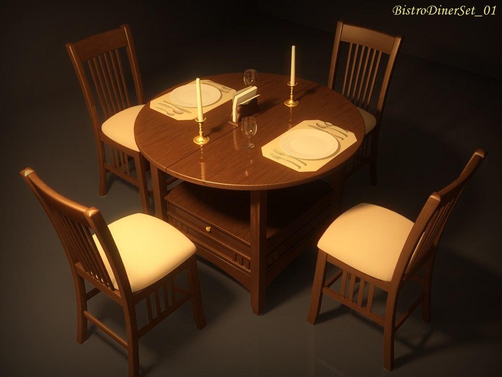 3dsmax bistro diner set 01