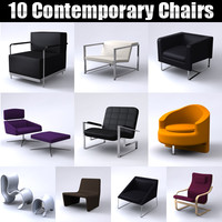 3d model 10 modern contemporary armchairs