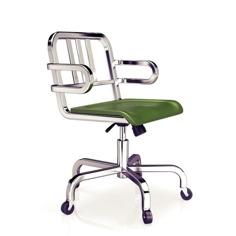 3ds max aluminum swivel armchair emeco