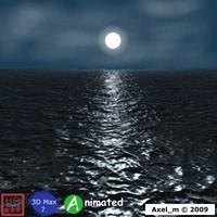 Moonlight Shining on Ocean Animated