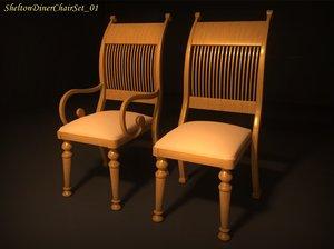 3d model shelton diner chair set