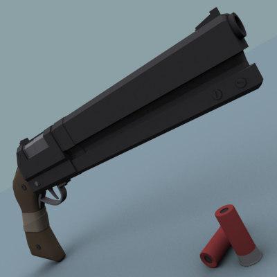 3d sci-fi shotgun model