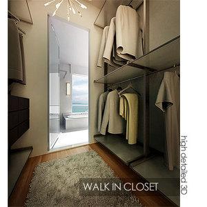 contemporary walk closet 3d model