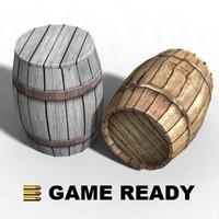 3d model closed wooden barrel -