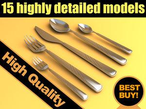 set forks spoons 3d model