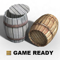 Low Poly - Wooden barrel, empty