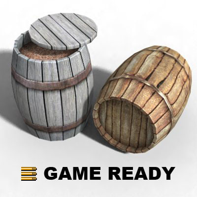 3ds max filled wooden barrel -