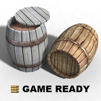 Low Poly - Wooden barrel, filled