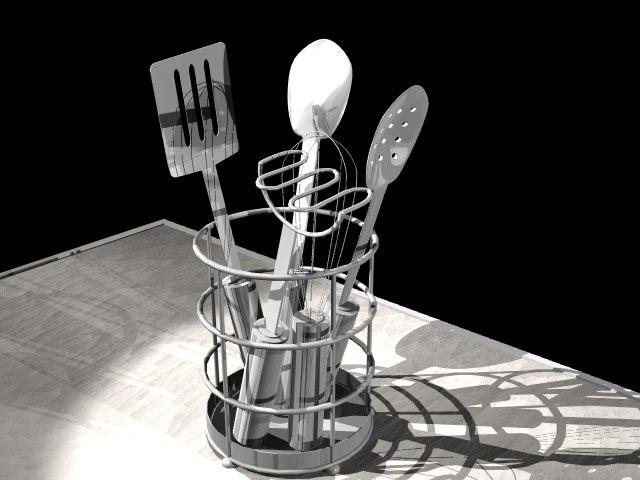 spatula caddy utensils 3d lwo