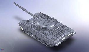 3d model solid tank rus t-90