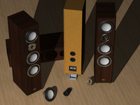 Three way bass-reflex speakers
