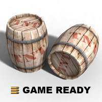 wooden barrel explosives - 3d model