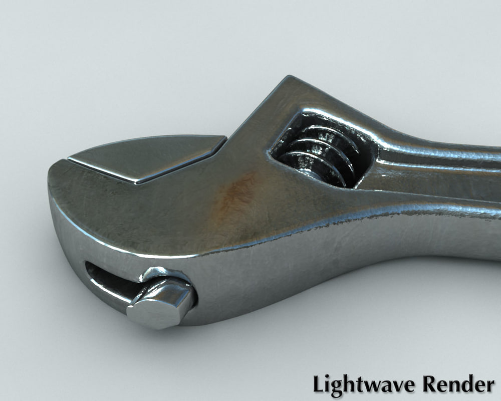 3d adjustable crescent wrench model