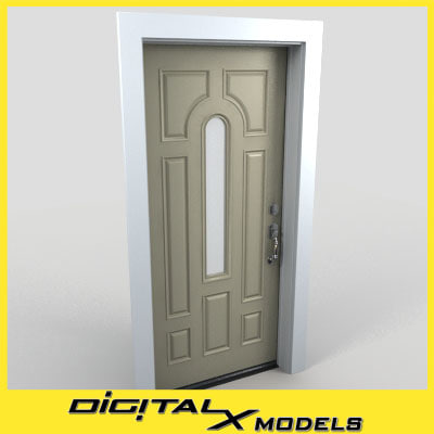 residential entry door 09 3d model