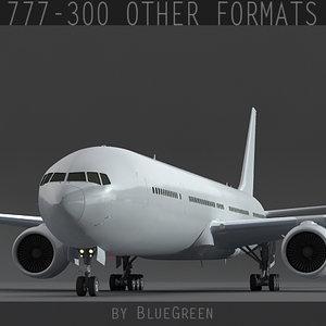 777-300 plane landing 3d obj