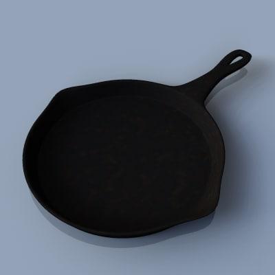 cast iron frying pan 3d max