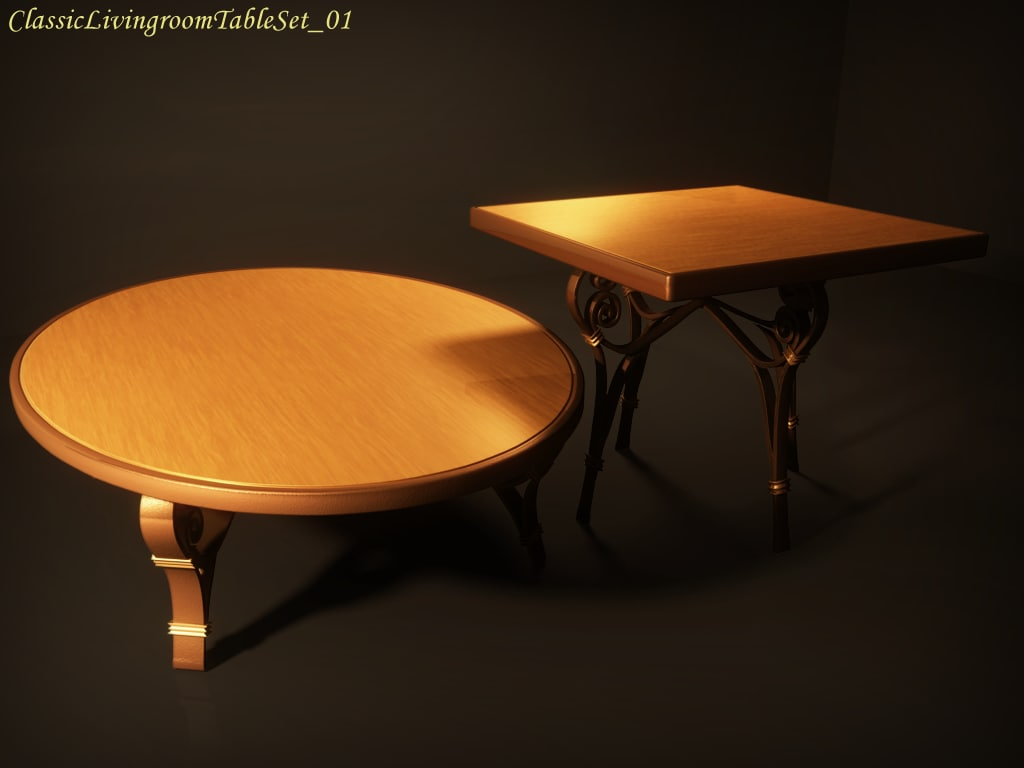 classic livingroom table set 3d model