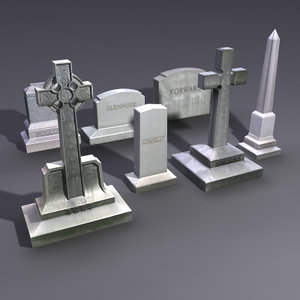 set gravestones grave stones obj