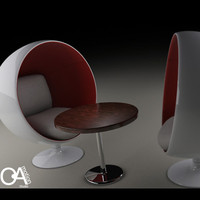 3d model retro egg chair