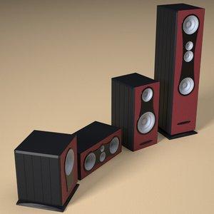 3d model speakers musical separated