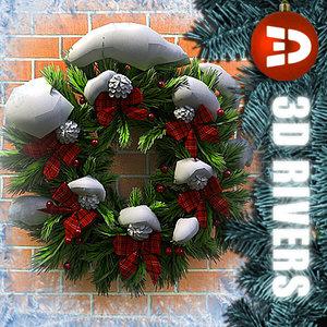 christmas wreath snow 3d model