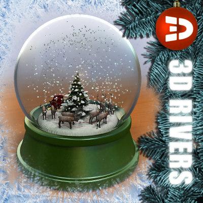 max snow globe reindeers