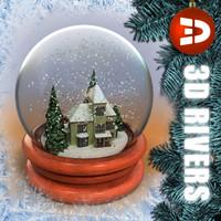 3ds snow globe house