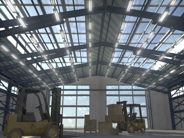 3d hangar forklifts environment