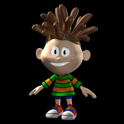 3dsmax chocolat hair boy cartoon