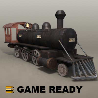 old steam locomotive - 3d max